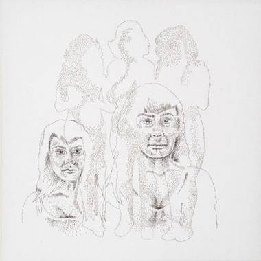 Jiggle, Jiggle, Jiggle, Hand-sewn Human Hair on Canvas, 2012