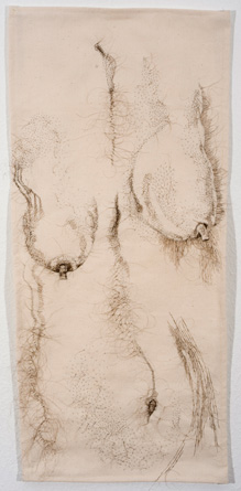 """The Good Body"", hand-sewn human hair on canvas, 2010"